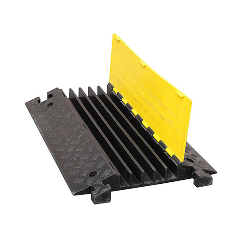 Heavy duty rubber 5 channel cable cover floor