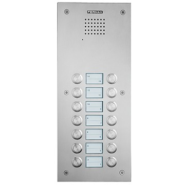 Marine audio panel with pushbuttons