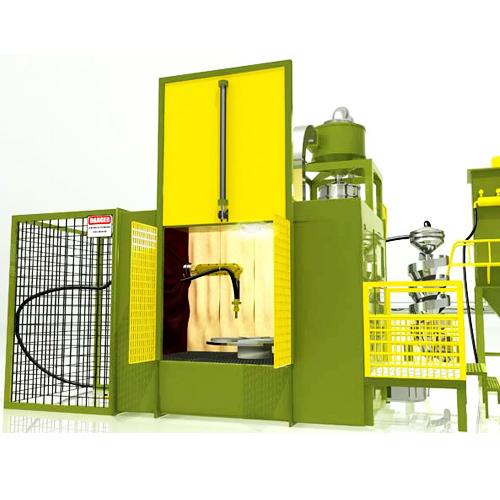 Robotic shot peening machine