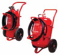 Mobile dry powder fire extinguisher