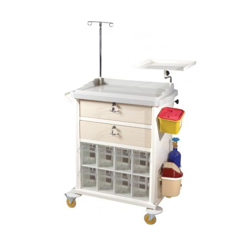 MEDICINE, TREATMENT AND EMERGENCYINTERVENTION TROLLEY (8 COMPARTMENT-ABS) - TM-B 2024_2