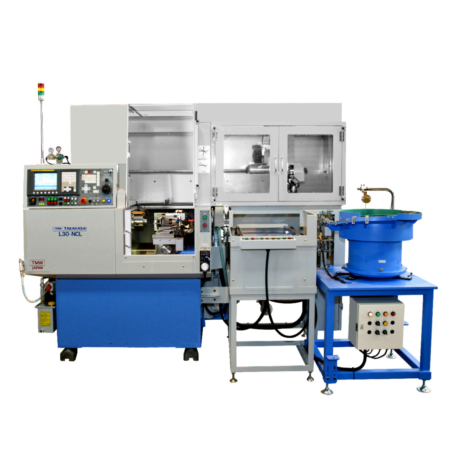 Microstar l30-ncl (precision compact gang type cnc lathe with 3-axis cnc controlled gantry loader)
