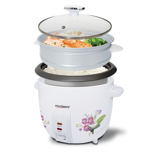 Touchmate rice cooker with steam cooker - 900w, 2.2 litre (tm-rc102)