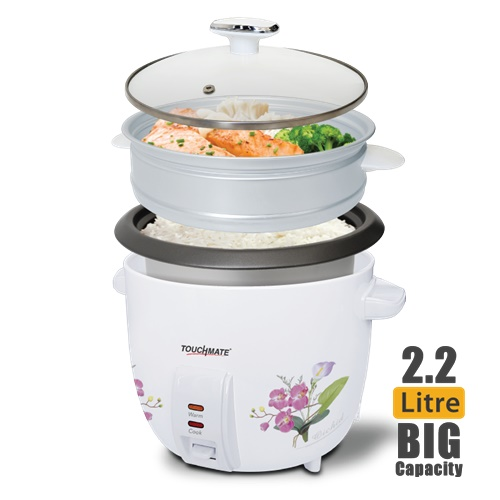 TOUCHMATE Rice Cooker with Steam Cooker - 900W, 2.2 Litre (TM-RC102)_3