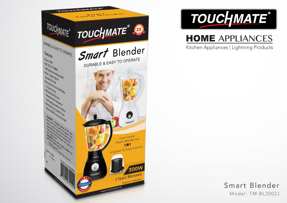 TOUCHMATE Smart Blender with Grinder - 300W, Multi-Function Option: Blending, Grinding Made Easy, White (TM-BL2002JW)_3