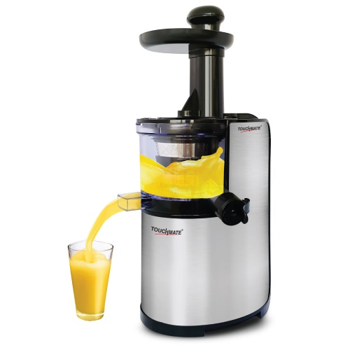 Touchmate stainless steel slow juicer - 200w, 600ml pulp container & juice cup, low speed of 80rpm (tm-sj103)