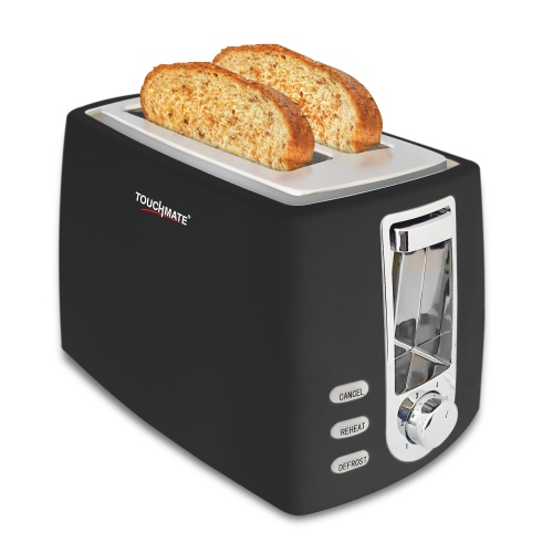 Touchmate 2 retro slice toaster - 800w, electronic control for reheat, defrost & stop functions, black (tm-ts200b)