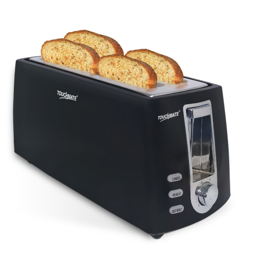 Touchmate 4 slice retro toaster - 800w, electronic control for reheat, defrost & stop functions, black (tm-ts400b)