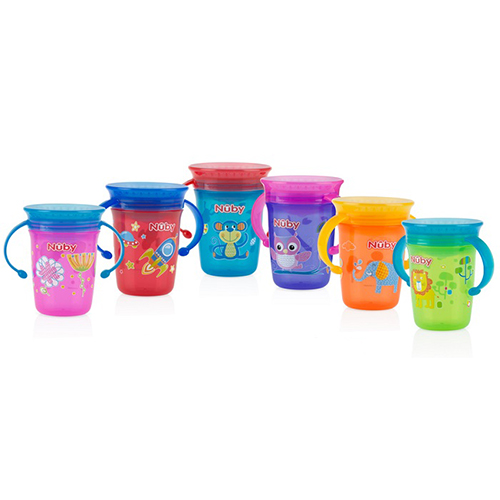 Nuby any angle sip 360° wonder cup w/ handle & cover 240ml 6m+
