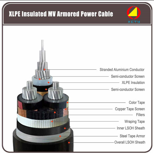 Xlpe insulated mv armored power cable