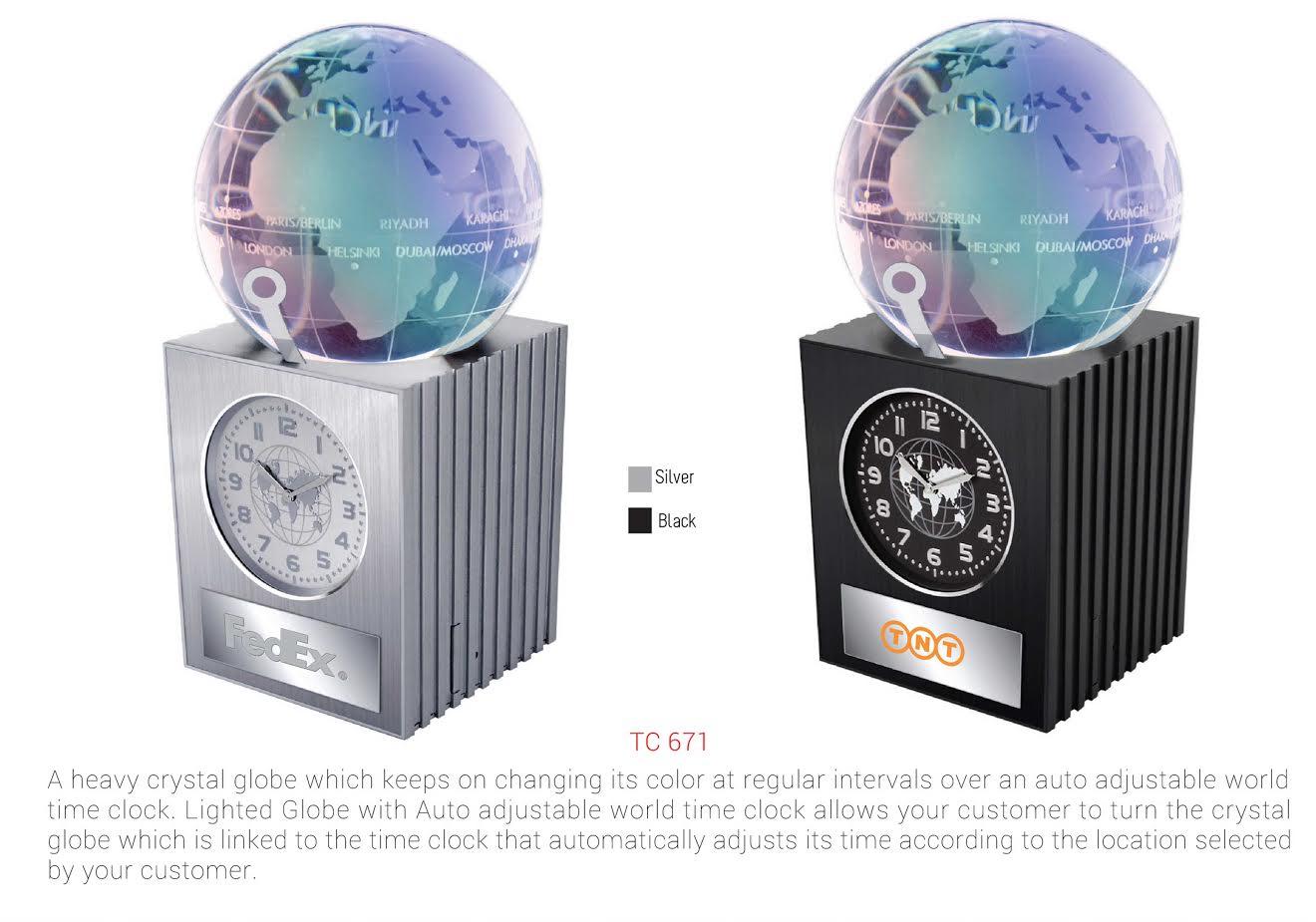 Desktop clock with crystal globe tc-671