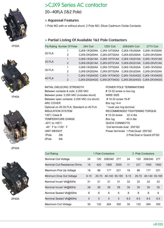 Cjx9 series ac contactor