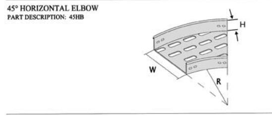 Cable tray fittings 45° horizontal elbow