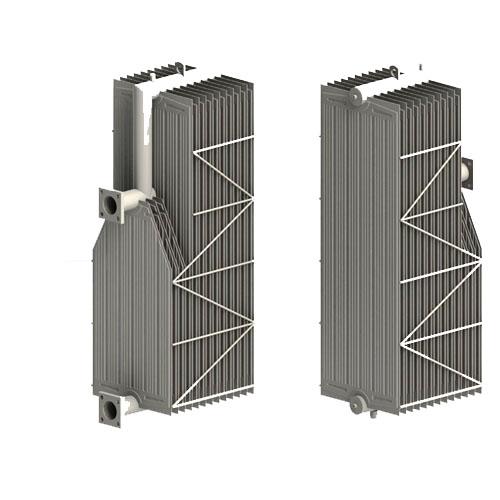 Corner cut swan neck radiator