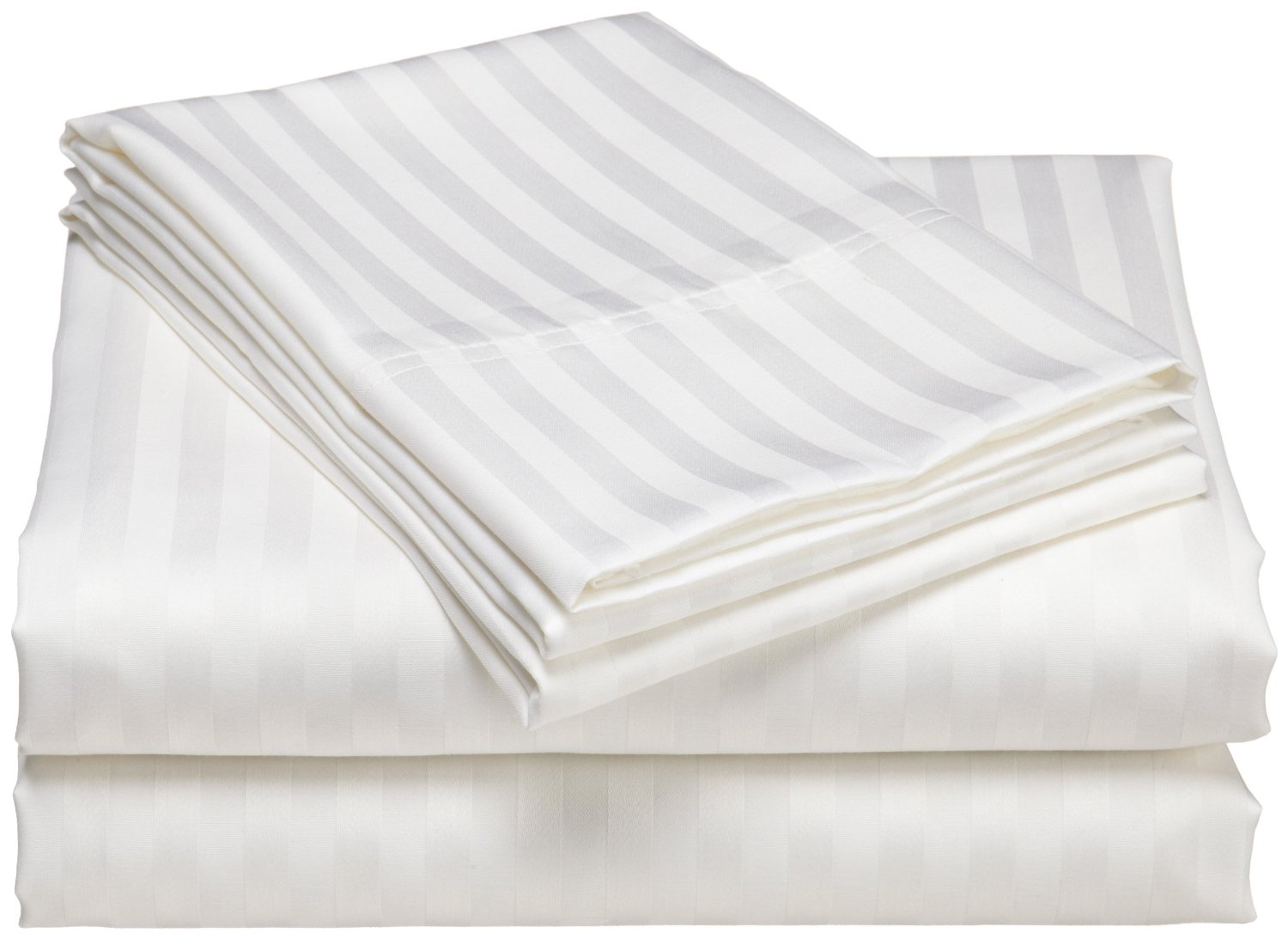 Bedsheet 300tc stripe white cotton