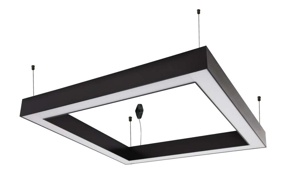 Led - kare suspended lighting fixtures with frosted acrylic diffuser