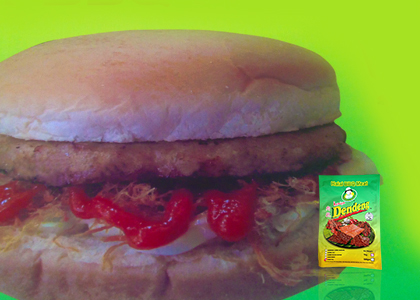 Burger bakar dendeng style black pepper
