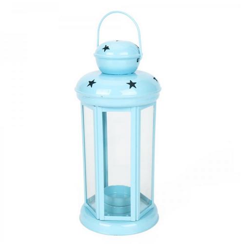 Winning Star In/out door Hexagonal Lantern to Block Candle - Blue_2