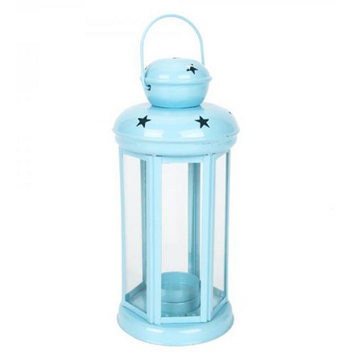 Winning Star In/out door Hexagonal Lantern to Block Candle - Blue_4