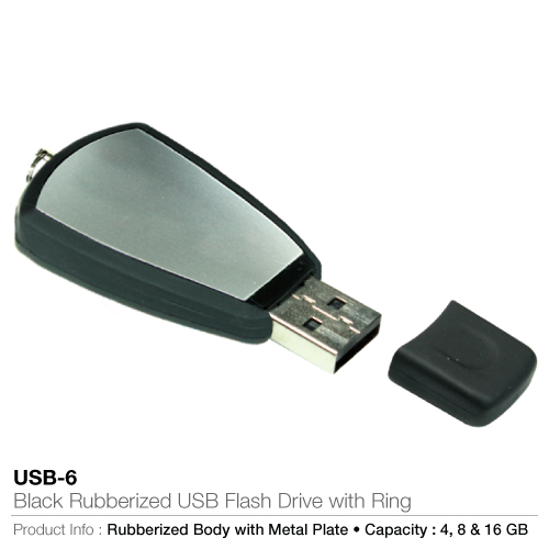 Black Rubberized USB Flash Drive with Ring  (USB-6)_2