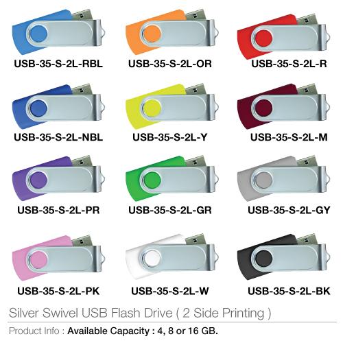 Silver Swivel USB Flash Drive (2 side Printing)- USB-35-S-2L_2