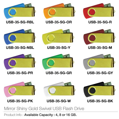Mirorr Shining Gold Swivel USB Flash Drive- USB-35-SG
