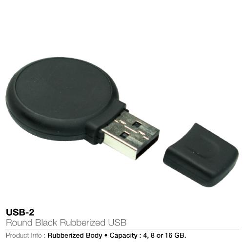 Round Black Rubberized USB (USB-2)