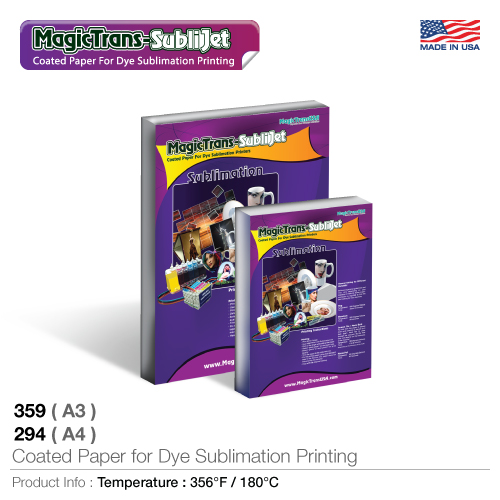 Coated paper for dye sublimation printers  359(a3); 294(a4)