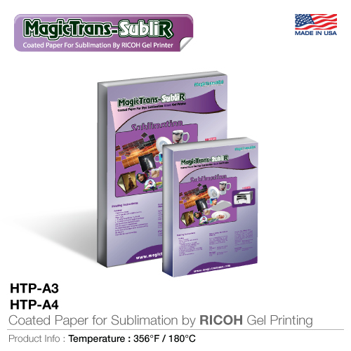 Coated paper for sublimation by ricoh gel printing  (htp-a3, htp-a4)