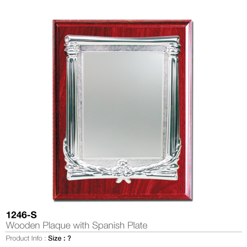 Wooden Plaque with Spanish Plate 1246-S_2