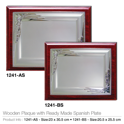 Wooden Plaque with Ready Made Spanish Plate 1241-AS-BS_2
