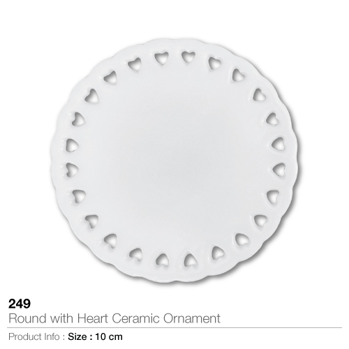 Round with heart ceramic ornament- 249