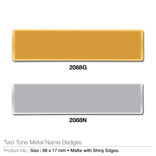 Two tone metal name badges- 2088